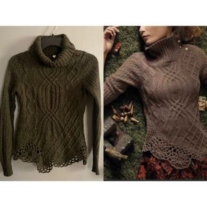 Anthropologie Moth Cabled Loden Pathways Pullover
